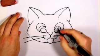 Учимся рисовать лицо котёнка