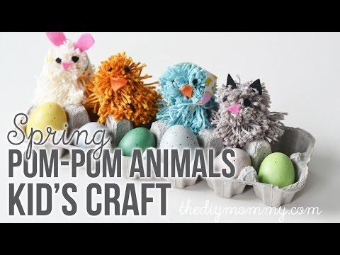 Silly Spring Pom Pom Animals Kid's Craft Tutorial