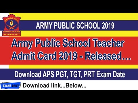 AWES Army Public School Admit Card 2019 Released Download APS PGT TGT PRT