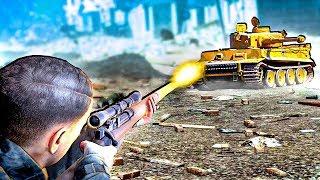 American Sniper Spy Destroys a WW2 German Tiger Tank in Sniper Elite V2 Remastered!