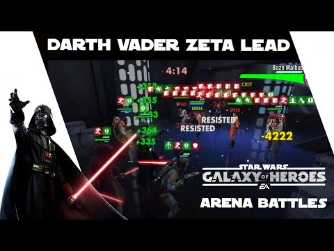 Star Wars Galaxy Of Heroes Darth Vader Zeta Leadership Arena Battles
