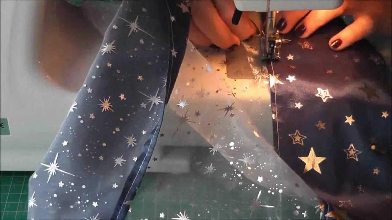 weihnachtsdekoration kleine gardine aus organza und dekostoff n hen youtube. Black Bedroom Furniture Sets. Home Design Ideas
