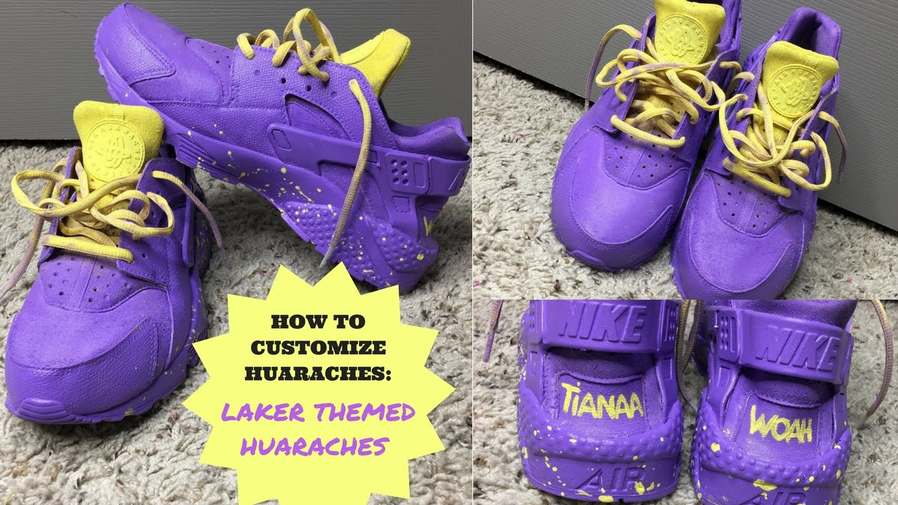 buy popular 5f272 7f4e2 HOW TO CUSTOMIZE HUARACHES W  ACRYLIC PAINT   LAKERS THEME   PURPLE  HUARACHES