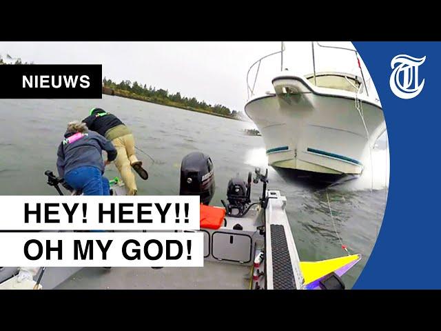 Horrorcrash op het water gefilmd