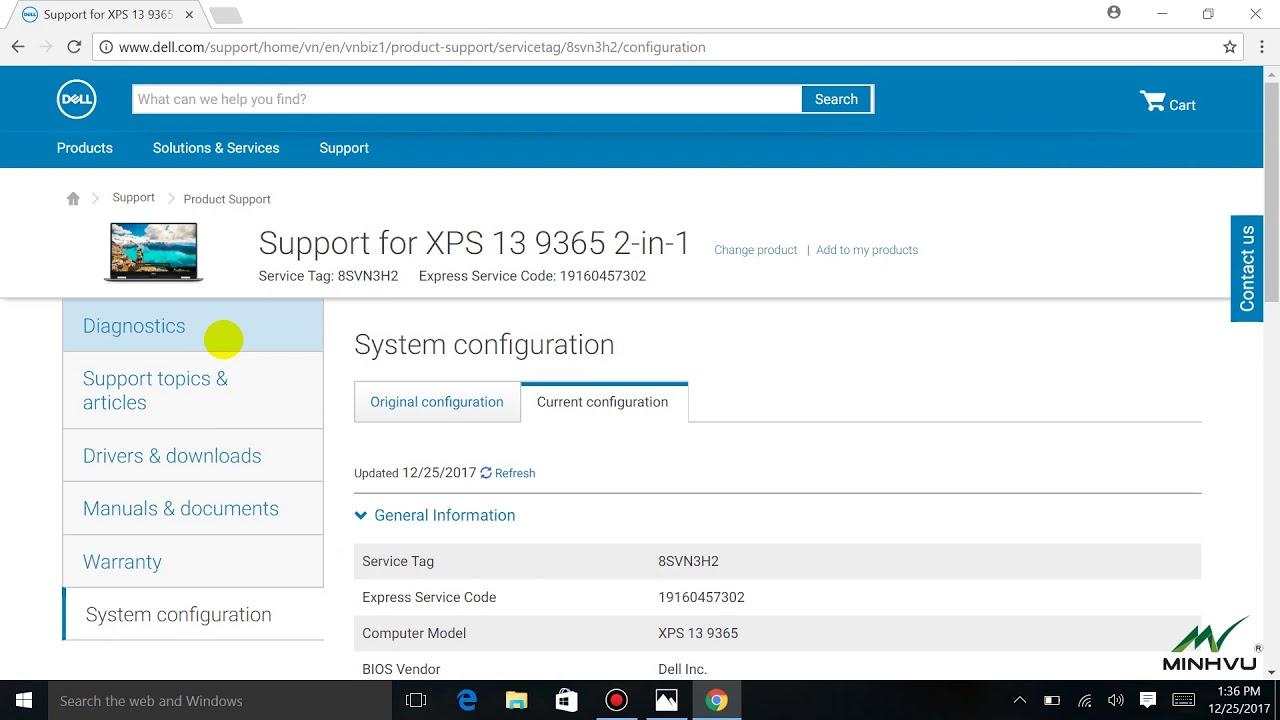 Cách check bảo hành service tag chính hãng của Dell Xps 9365