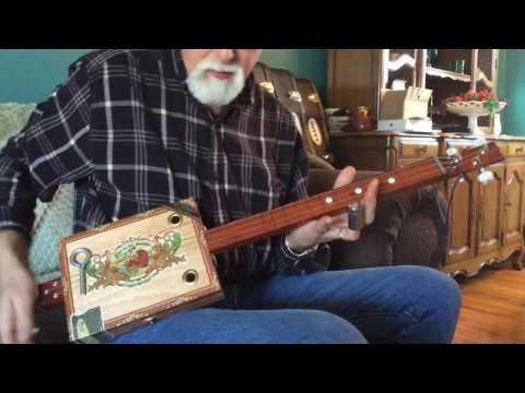 Acoustic slide, fretless 3 string cigar box guitar Bob Goss Guitars