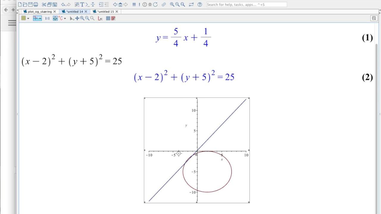 Plot og skæring af/mellem linje og cirkel
