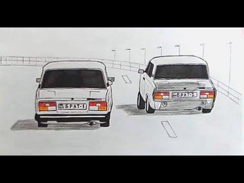 Как нарисовать машину, ВАЗ 2107(Ehedov Elnur)Avtoş maşin Vaz 2107 nece cekilir