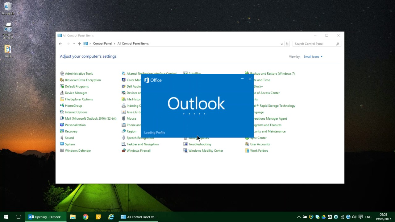 how to create a new outlook 2016 profile