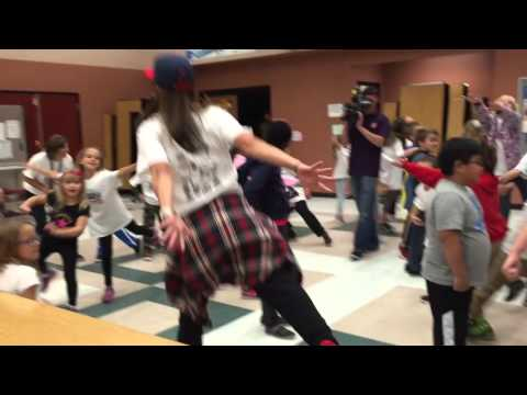 Van Gorder Elementary School Principals and students celebrate win with Whip/Nae Nae