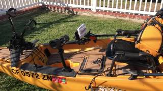 Hobie Pro Angler with rear mount torqeedo evolve and marine mat.