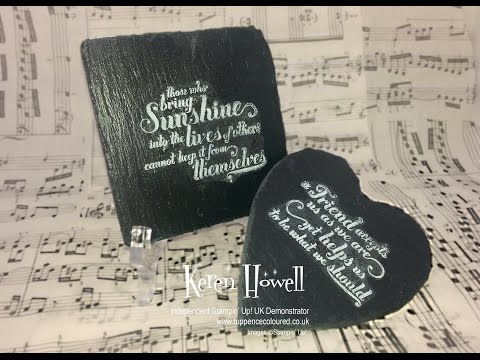 Stampin' Up!  Stamping  On Slate Coasters  (Home Decor Project)