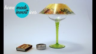 Wine glass lamp - Homemade inventions