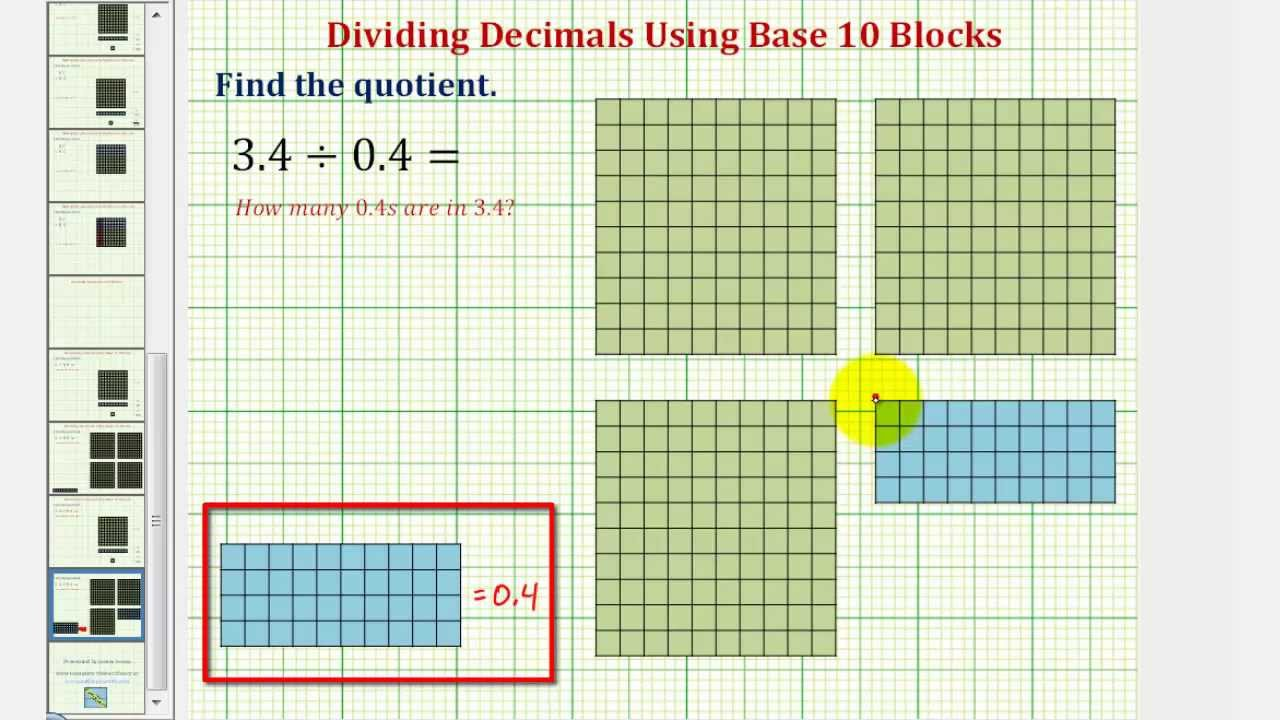 ex determine the quotient of two decimals using base ten blocks 1 digit youtube. Black Bedroom Furniture Sets. Home Design Ideas