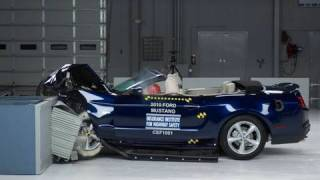 2010 Ford Mustang convertible moderate overlap IIHS crash test