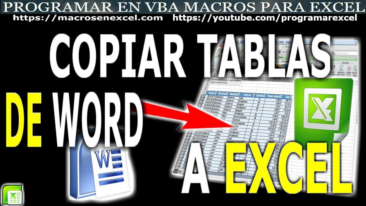 229 Como importar tablas o cuadros de Word a Excel con Macro que ...
