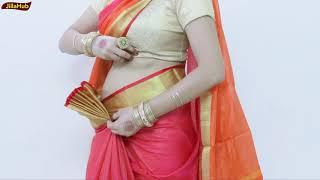 Pure Khari Cotton Saree Drape | How to Wear Ulta Pallu Saree Perfectly in 2 mints