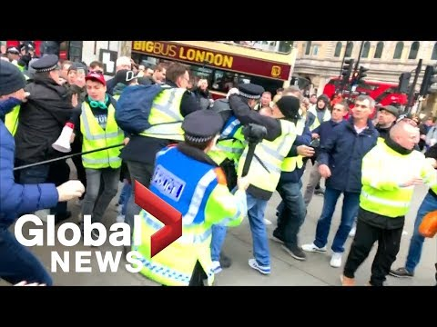Scuffles break out at pro-Brexit, yellow vest rally in central London