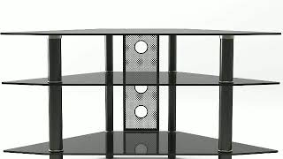 44 Inch Corner Glass TV Stand in Black with Cable Management by Ryan Rove Ruby