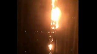 Incendio consume el hotel The Address Downtown de 352 metros en Dubái