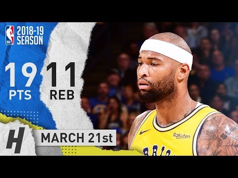 Demarcus Cousins Full Highlights Warriors vs Pacers 2019.03.21 - 19 Pts, 11 Reb, 4 Ast!