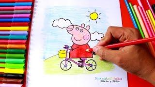 PEPPA PIG Bike Drawing and Painting | Dibujando y pintando a Peppa Pig en bicicleta (paso a paso)