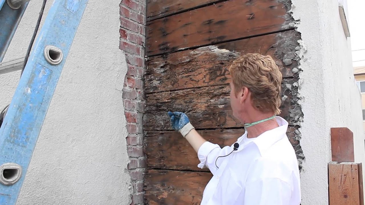 Brick Chimney Meets Stucco Wall Leaking Detailed Video