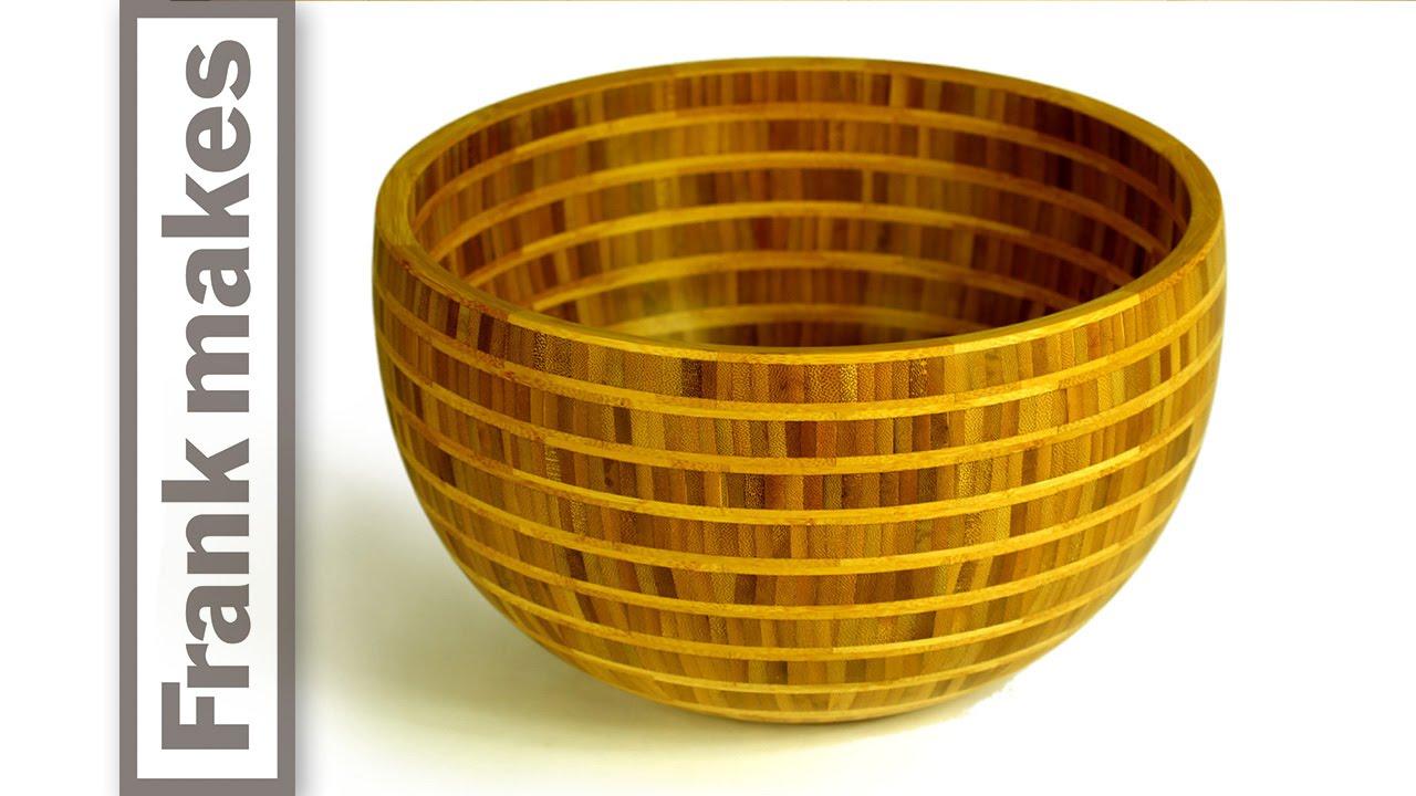 Segmented Wood Turned Bamboo Bowl
