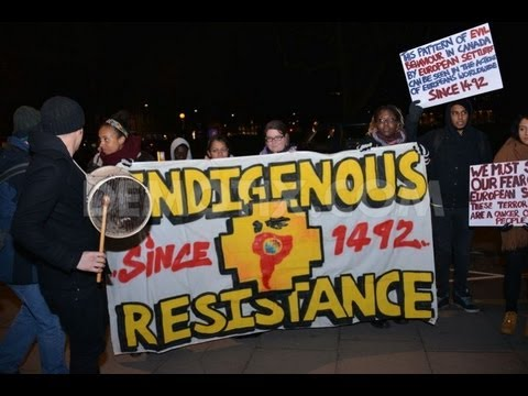 """First Nations"" protest at embassy against Canadian law changes"