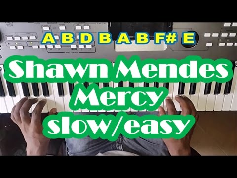 Shawn Mendes Mercy SLOW Easy Piano Tutorial - How To Play