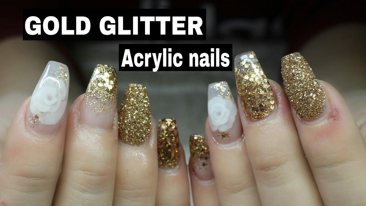 Black Glitter Acrylic Nails COFFIN SHAPED ACRYLIC ...