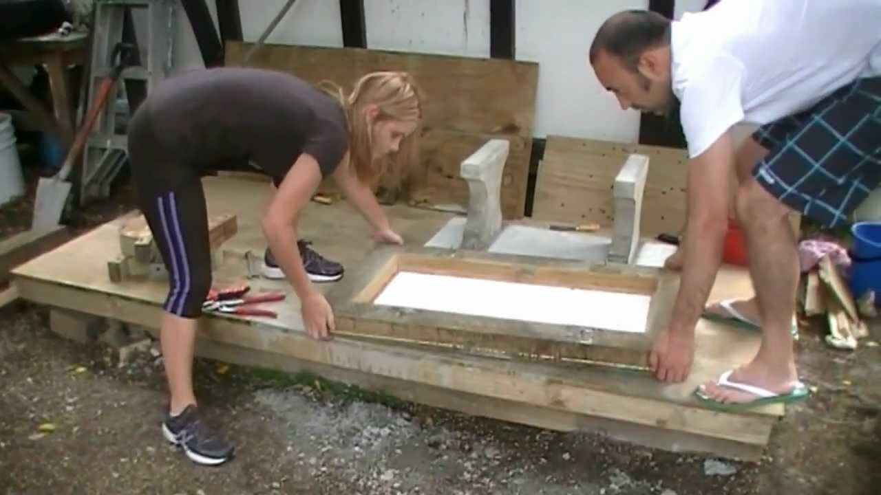 Making A Concrete Seat Part 4 Casting Youtube