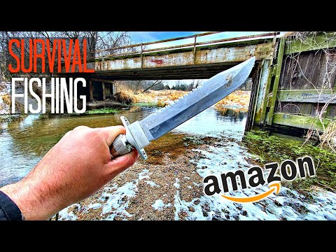 SURVIVAL FISHING CHALLENGE!!! -$20 Amazon Knife ONLY (NO Rod/Bait)