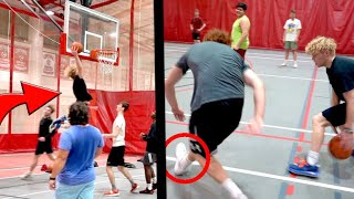 Trying To Dunk In Game! 5v5 Against College Kids!