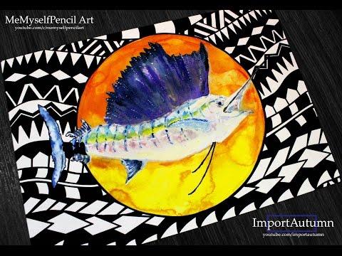 Polynesian Art Swordfish Collab [Daily Drawing #23]