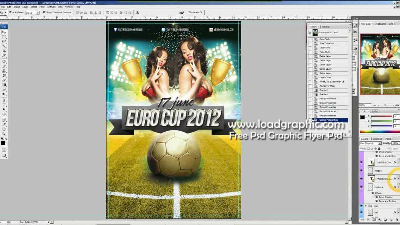 Free Psd Graphics Euro soccer Cup 2012 Flyer Template YouTube – Soccer Flyer Template