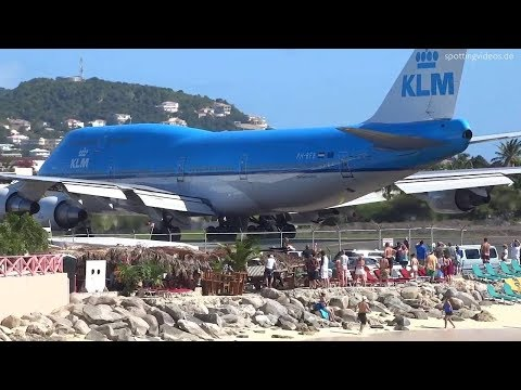 ST Maarten jet blast  KLM departure !!! Take off
