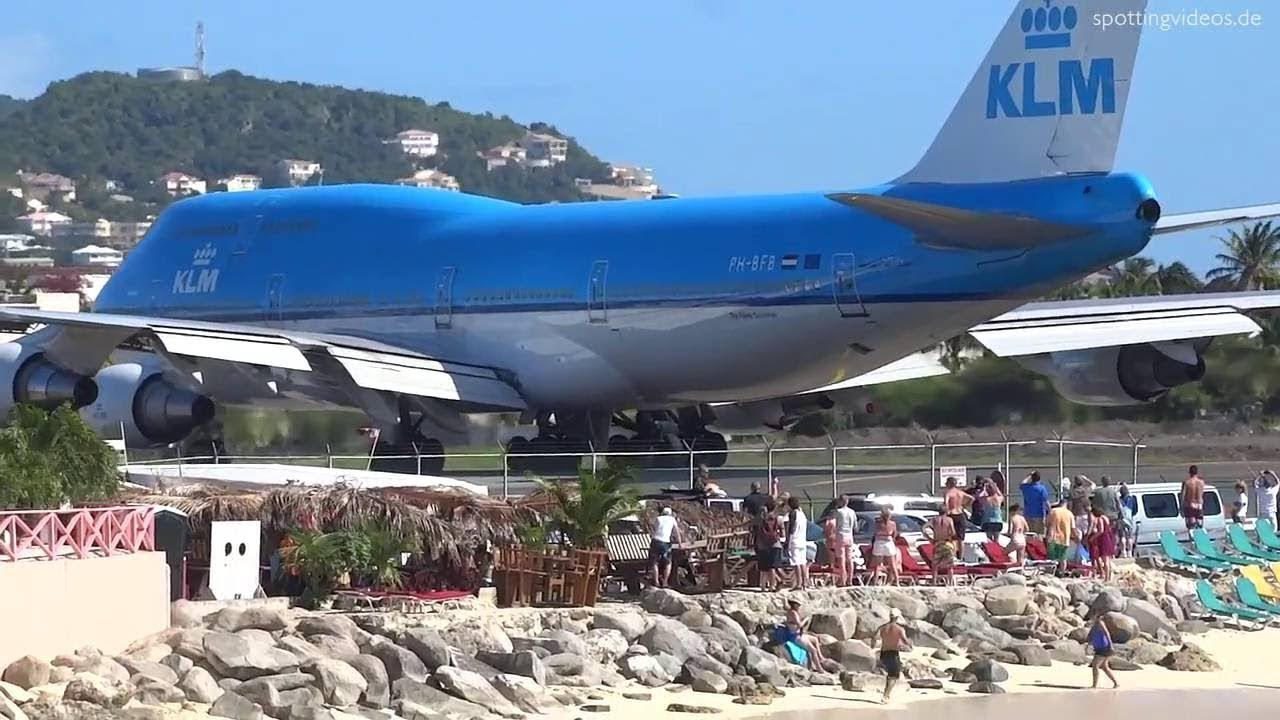 747 KLM Take Off ST Martin - YouTube