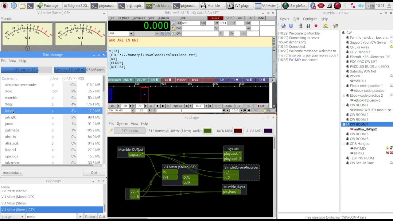 QRQ CW on the Raspberry Pi - demo of sending & receiving Morse Code tones  over Mumble on iCW