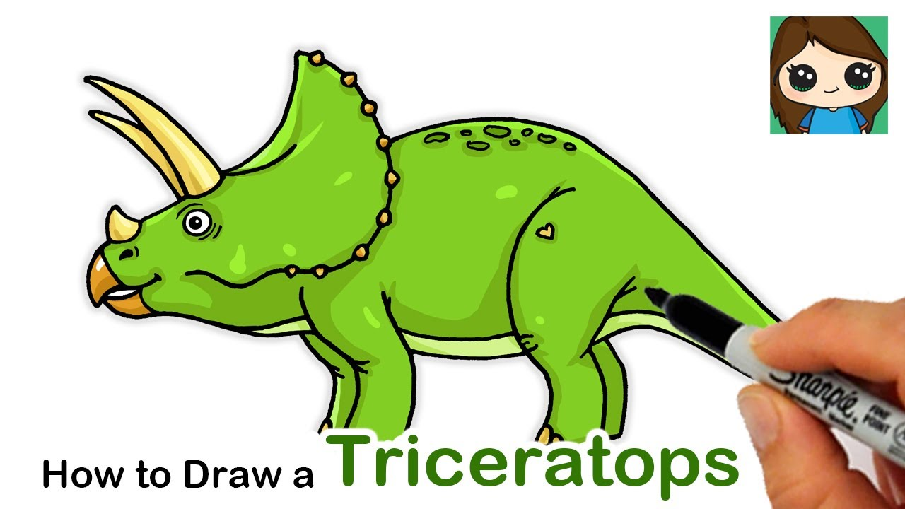 How to Draw a Triceratops Dinosaur Easy - YouTube