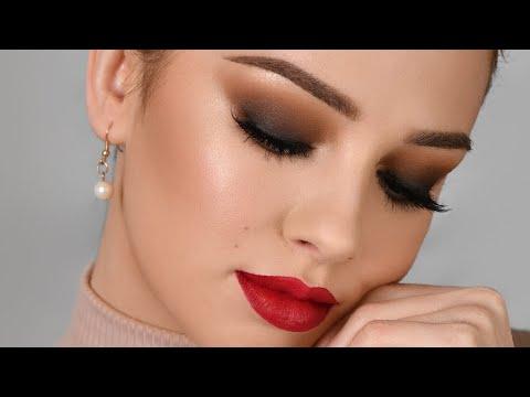 DATE NIGHT Makeup Tutorial   Sultry Smokey Eye & Red Lipstick