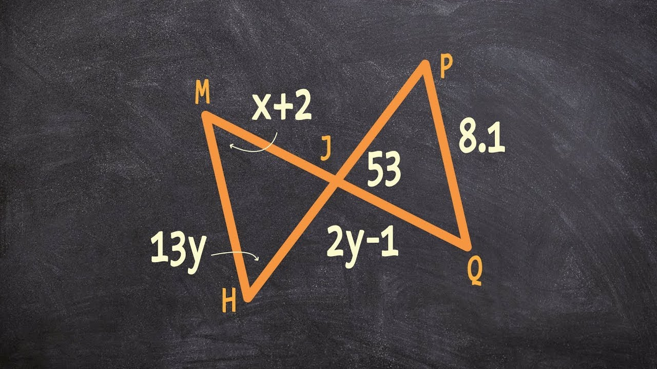 Using Two Congruent Triangles To Find The Value Of X And Y Youtube