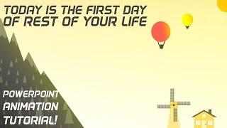 Best PowerPoint Animation Tutorial! Windmill,mountain,hot air balloon Microsoft PowerPoint Pro 2013