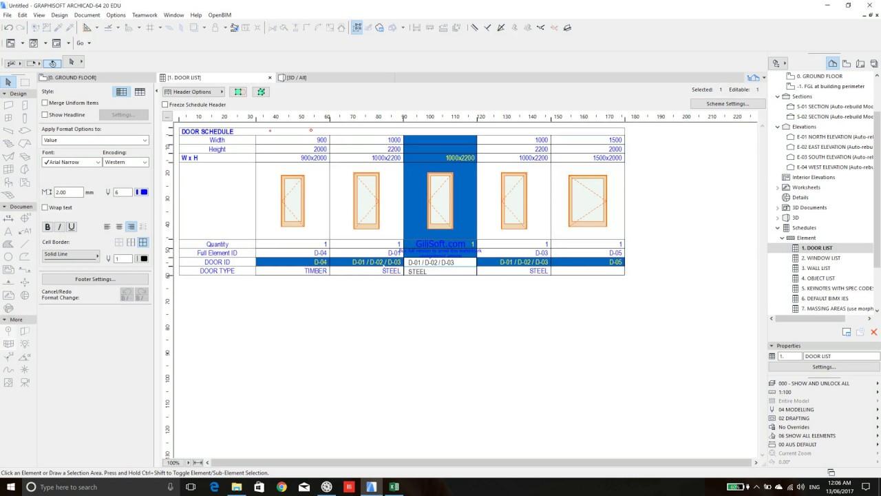 QUICK TUTORIAL OF HOW TO CREATE WINDOW & DOOR SCHEDULE IN ARCHICAD ...