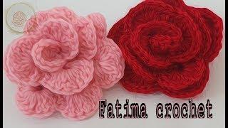#كروشيه#وردة#مجسمه ورده كروشيه مجسمه 3D لتزيين الملابس 2  #crochet#flowers