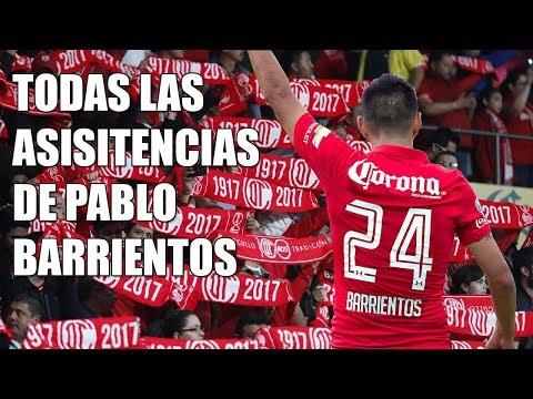 Las 17 asistencias de Pablo Barrientos con el Toluca