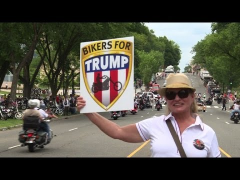 Trump gets warm welcome at veterans biker rally