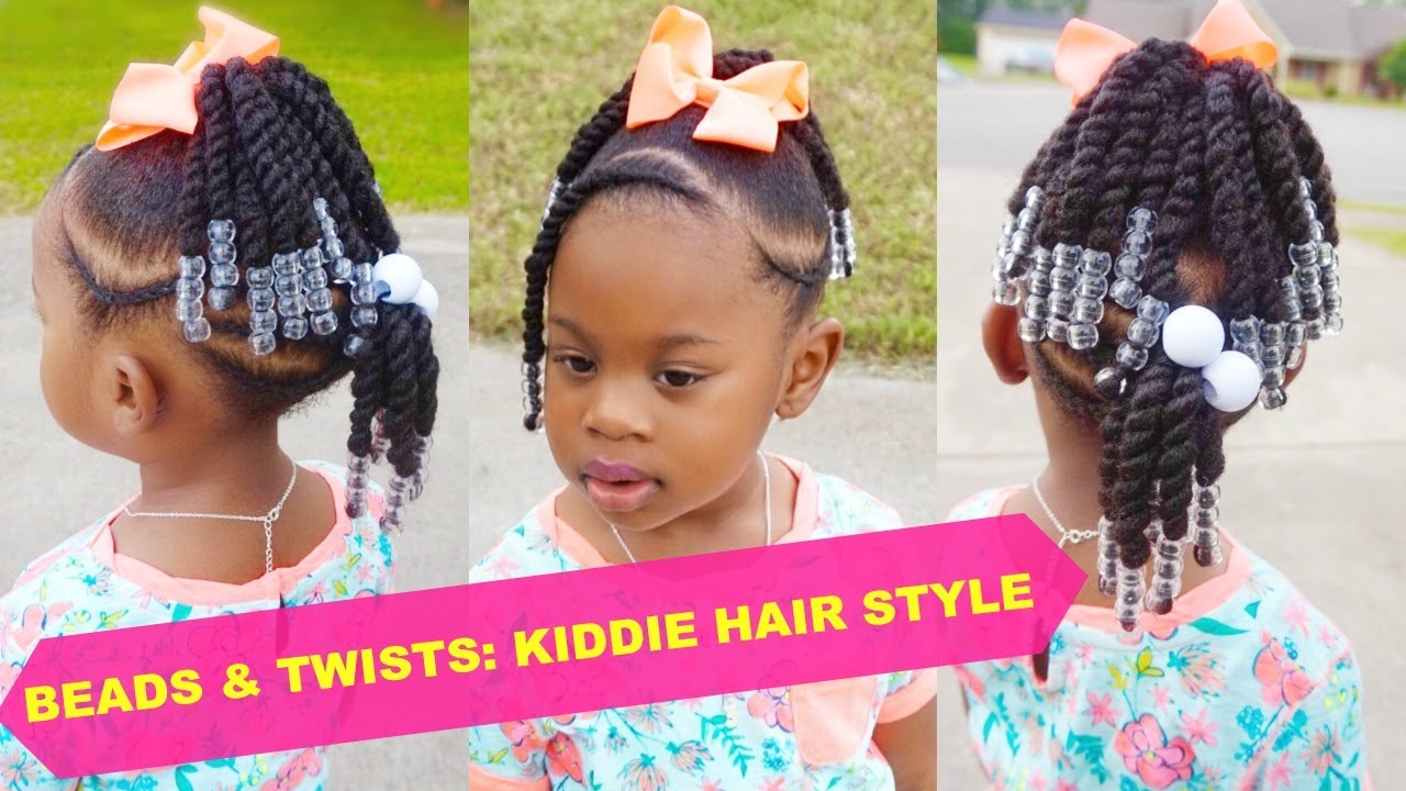 beads & twists | toddler natural hair style | thick 4b-4c hair