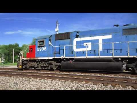 Grand Trunk Western SD40-2 GTW 5936 travels through Vicksburg