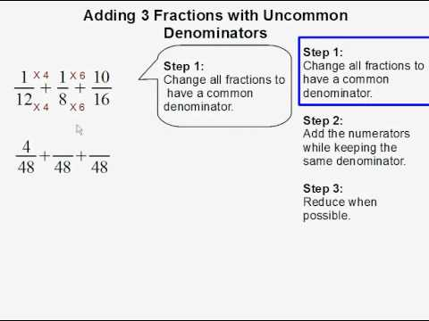 Adding 3 fractions with uncommon denominators youtube adding 3 fractions with uncommon denominators ccuart Gallery